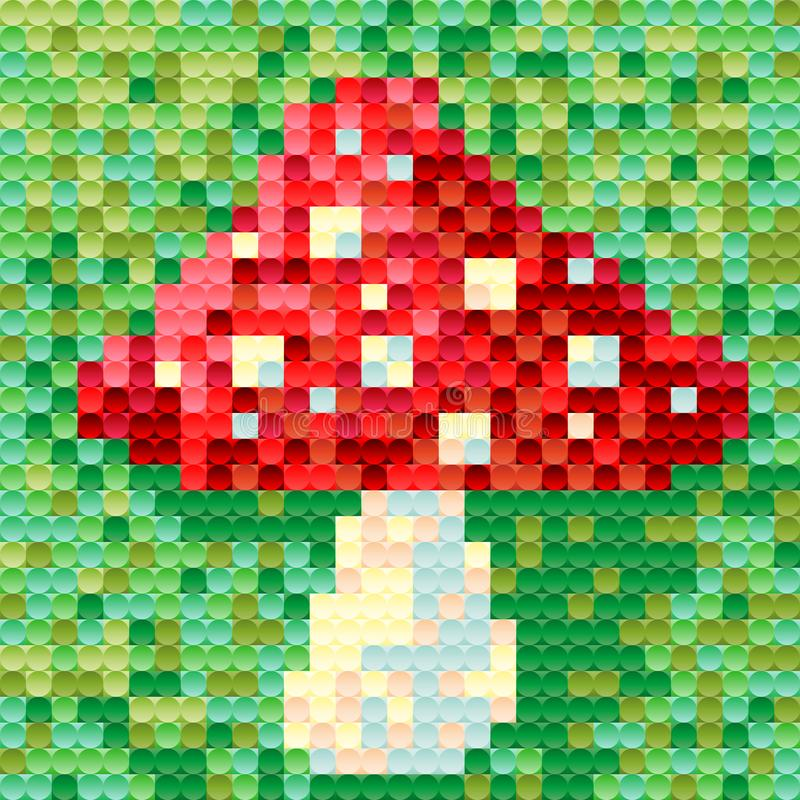 Le champignon d'amanite est peint dans le style de pixel pour la conception individuelle illustration libre de droits