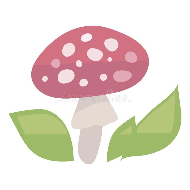 Le champignon rouge stylisé d'amanite de champignon de vecteur avec les taches lumineuses rondes, avec les feuilles vertes object illustration de vecteur