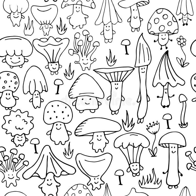 Le champinjoner, sömlös modell för din design vektor illustrationer