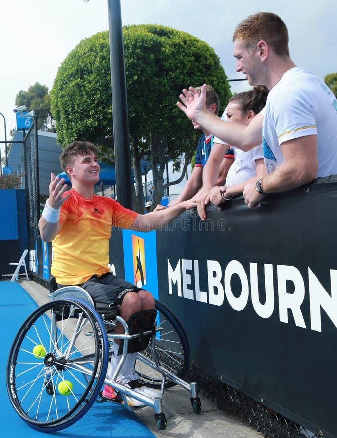 Le champion Gordon Reid de Grand Chelem de la Grande-Bretagne célèbre la victoire après que le fauteuil roulant 2016 d'open d'Aus photographie stock libre de droits