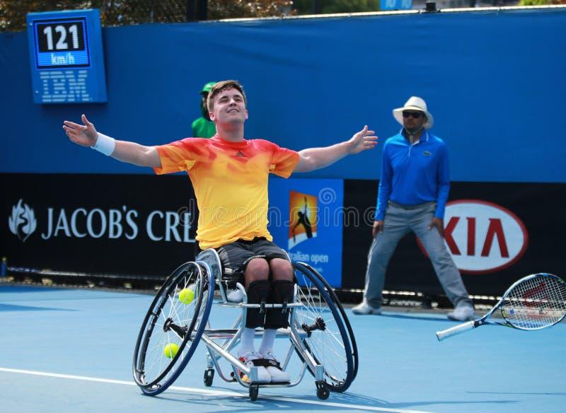 Le champion Gordon Reid de Grand Chelem de la Grande-Bretagne célèbre la victoire après que le fauteuil roulant 2016 d'open d'Aus photos libres de droits