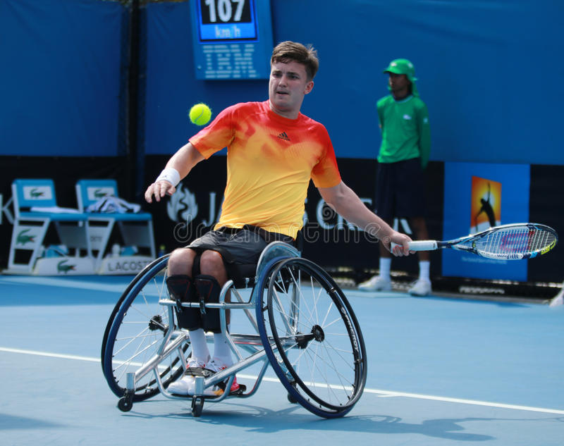 Le champion Gordon Reid de Grand Chelem de la Grande-Bretagne dans l'action pendant le fauteuil roulant 2016 d'open d'Australie c photographie stock libre de droits