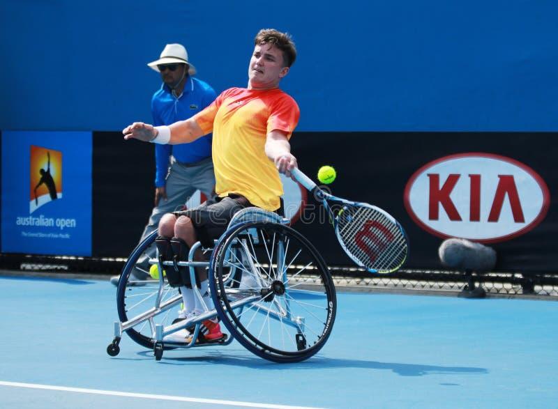 Le champion Gordon Reid de Grand Chelem de la Grande-Bretagne dans l'action pendant le fauteuil roulant 2016 d'open d'Australie c image stock