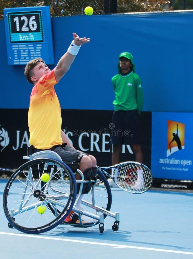 Le champion Gordon Reid de Grand Chelem de la Grande-Bretagne dans l'action pendant le fauteuil roulant 2016 d'open d'Australie c photographie stock
