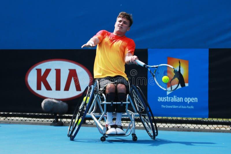 Le champion Gordon Reid de Grand Chelem de la Grande-Bretagne dans l'action pendant le fauteuil roulant 2016 d'open d'Australie c photo stock