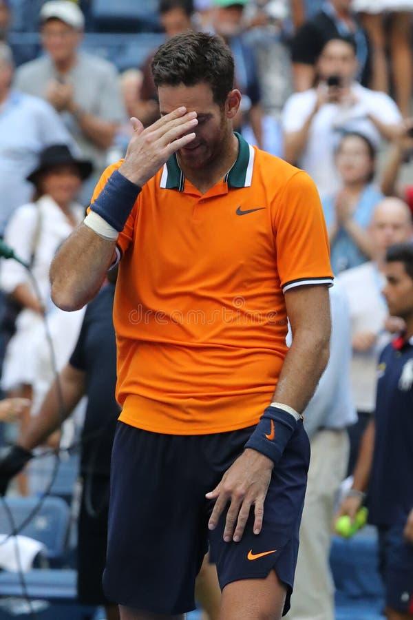 Le champion Juan Martin Del Potro de Grand Chelem de l'Argentine célèbre la victoire après son match 2018 de quart de finale d'US photos stock