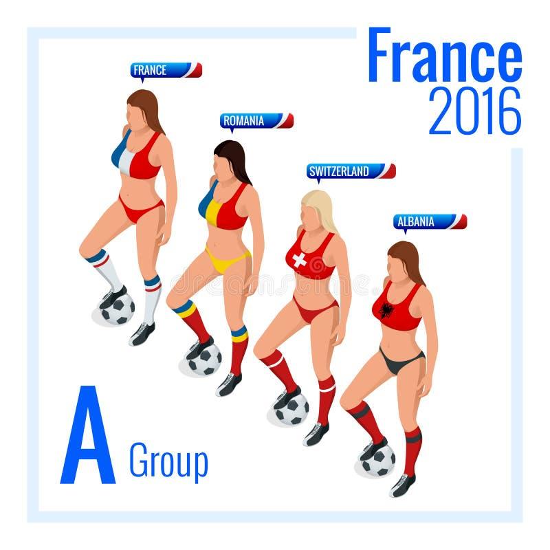Le championnat européen du football dans les Frances groupent A Illustration isométrique du vecteur 3d plat illustration de vecteur