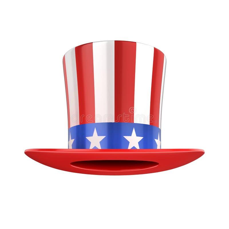 Le chapeau américain de l'Oncle Sam d'isolement sur le blanc illustration de vecteur