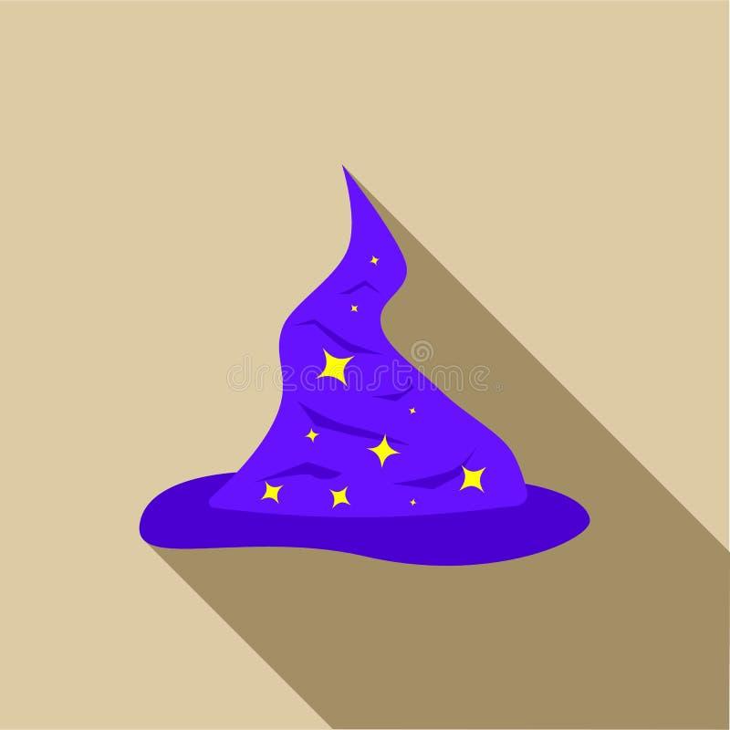 Le chapeau bleu de magiciens avec de l'argent tient le premier rôle le style plat d'icône illustration de vecteur