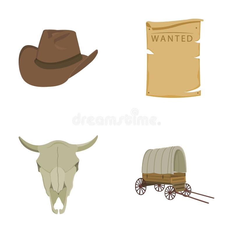 Le chapeau de cowboy, est recherché, chariot, crâne du ` s de taureau Les icônes réglées de collection d'ouest sauvage dans le st illustration stock
