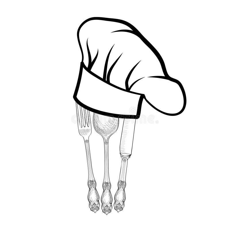 Le chapeau de cuisinier de chef avec la fourchette la - Les petites assiettes la fourchette ...