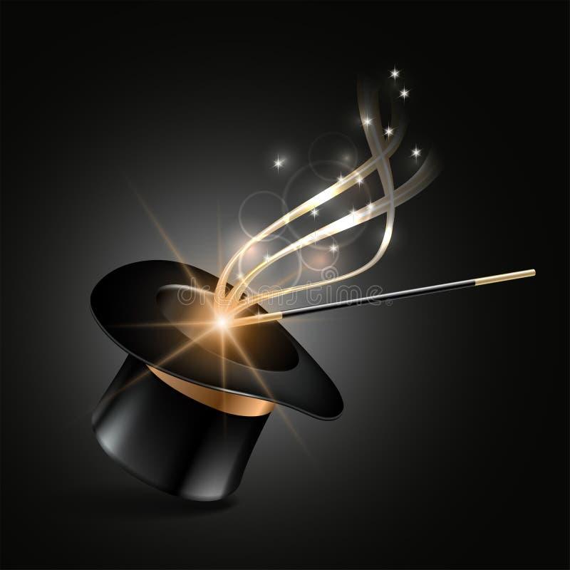 Le chapeau et la baguette magique magiques avec l'étincelle magique d'or traînent illustration libre de droits
