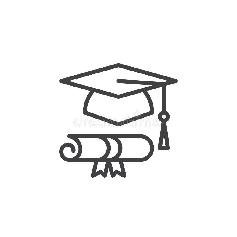 Le chapeau et le diplôme d'obtention du diplôme rayent l'icône, signe de vecteur d'ensemble illustration de vecteur