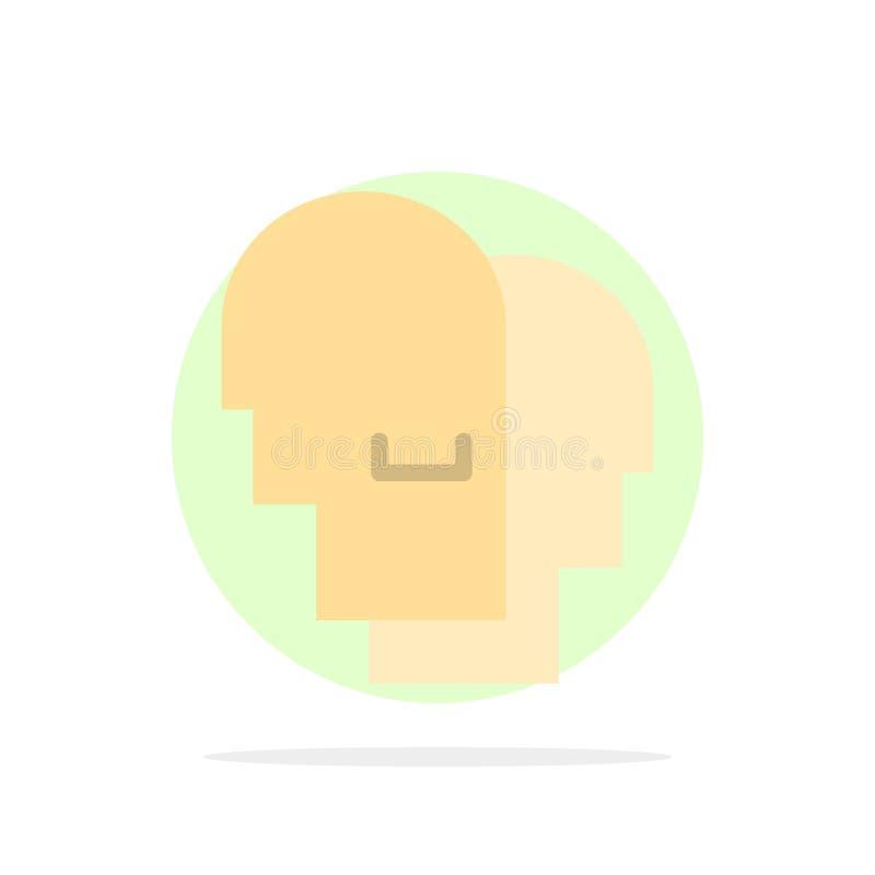 Le chapeau, humain, empathie, sentiments soustraient l'icône plate de couleur de fond de cercle illustration stock