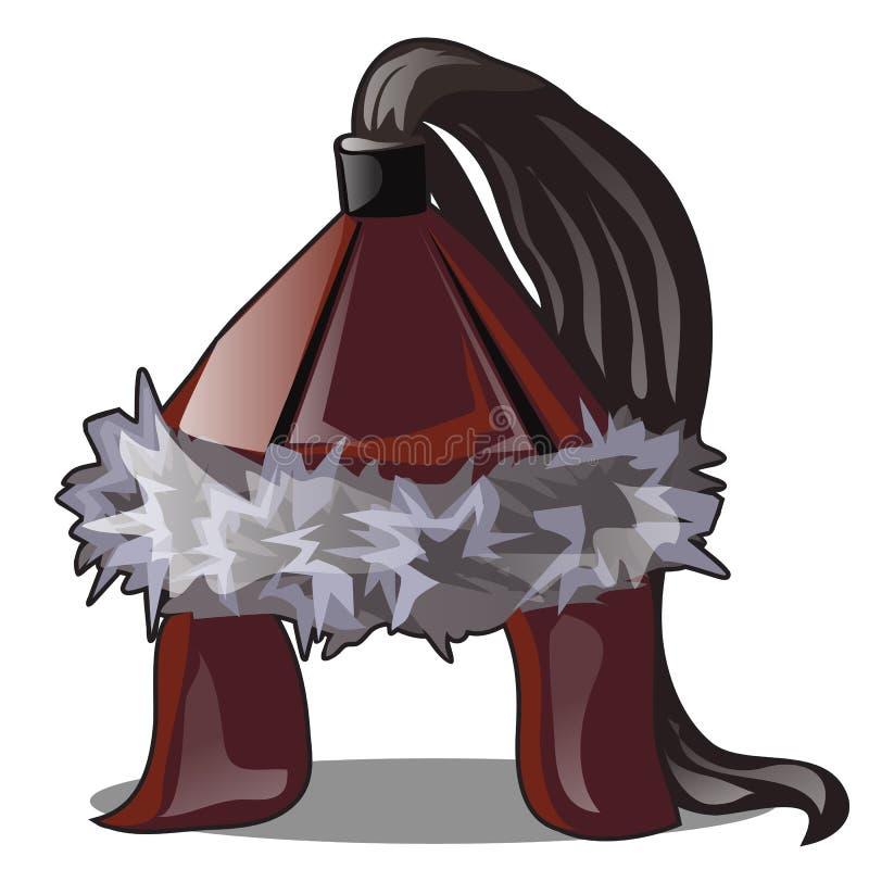 Le chapeau mongol de guerrier d'isolement sur le fond blanc Illustration de plan rapproch? de bande dessin?e de vecteur illustration de vecteur