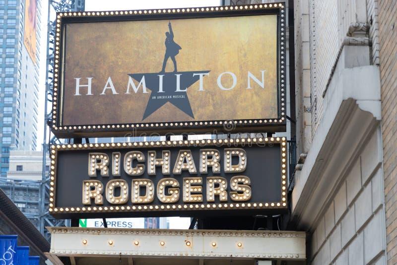 Le chapiteau de Hamilton, un musical américain images libres de droits