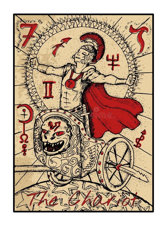 Le char La carte de tarot illustration stock