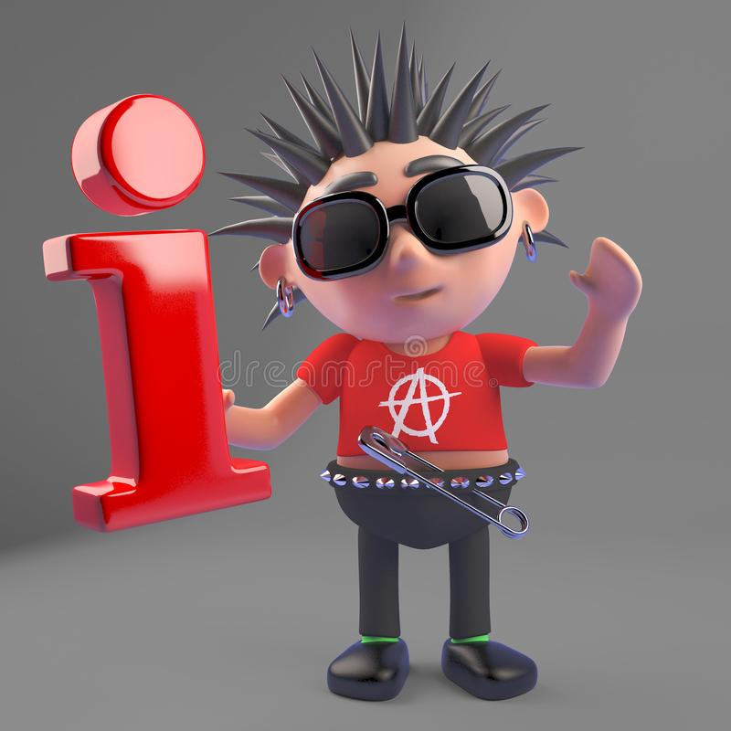Le characte de punk rock de Vicous tient un symbole de l'information il étole de quelque part, l'illustration 3d illustration de vecteur