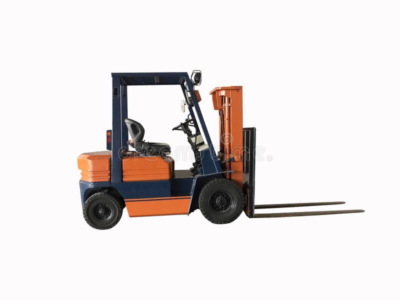 Le chariot élévateur orange et couleur bleue d'isolement sur le fond blanc Chemin de coupure photo stock