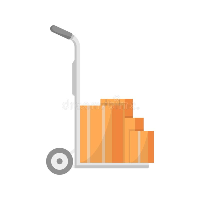 Le chariot d'entrepôt avec la livraison enferme dans une boîte l'icône illustration de vecteur