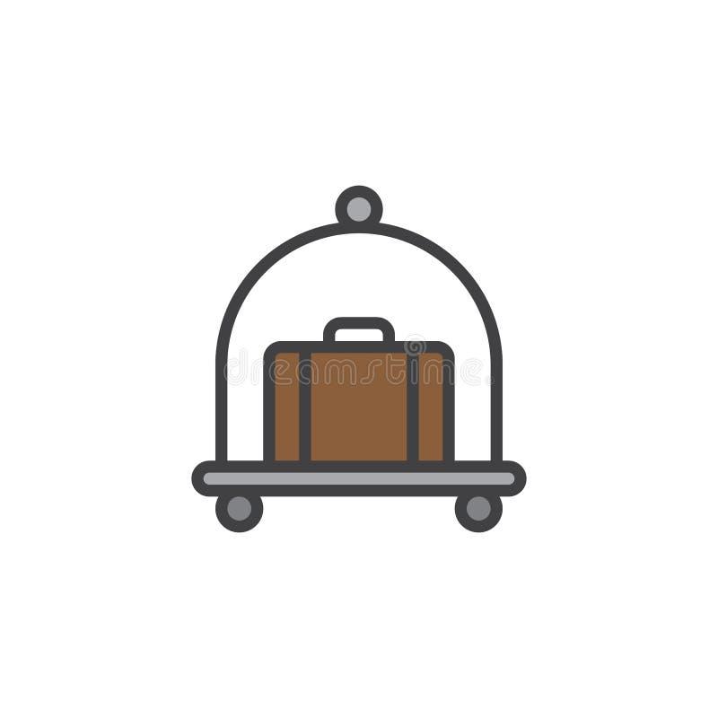 Le chariot de bagage d'hôtel avec la valise a rempli icône d'ensemble illustration stock