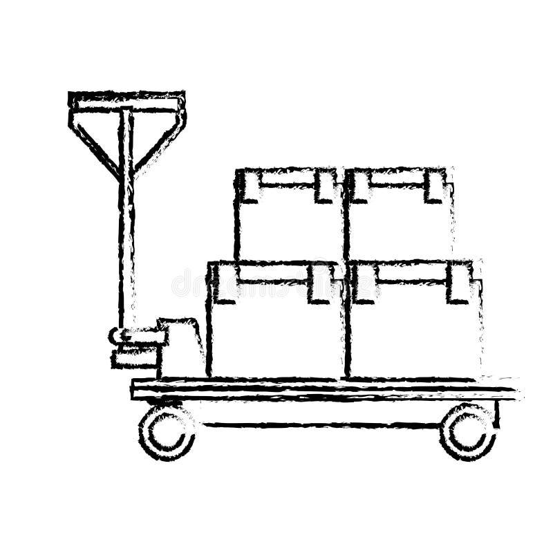 Le chariot de la livraison enferme dans une boîte l'icône logistique de cargaison illustration stock