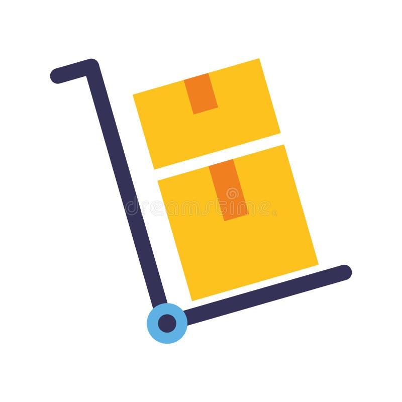 Le chariot de la livraison enferme dans une boîte l'icône illustration de vecteur