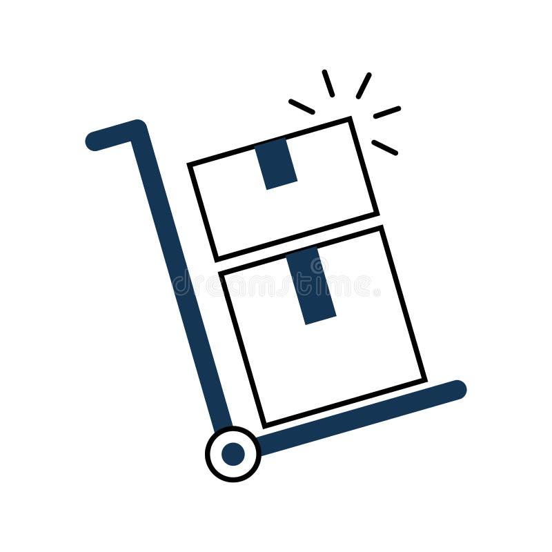 Le chariot de la livraison enferme dans une boîte l'icône illustration libre de droits