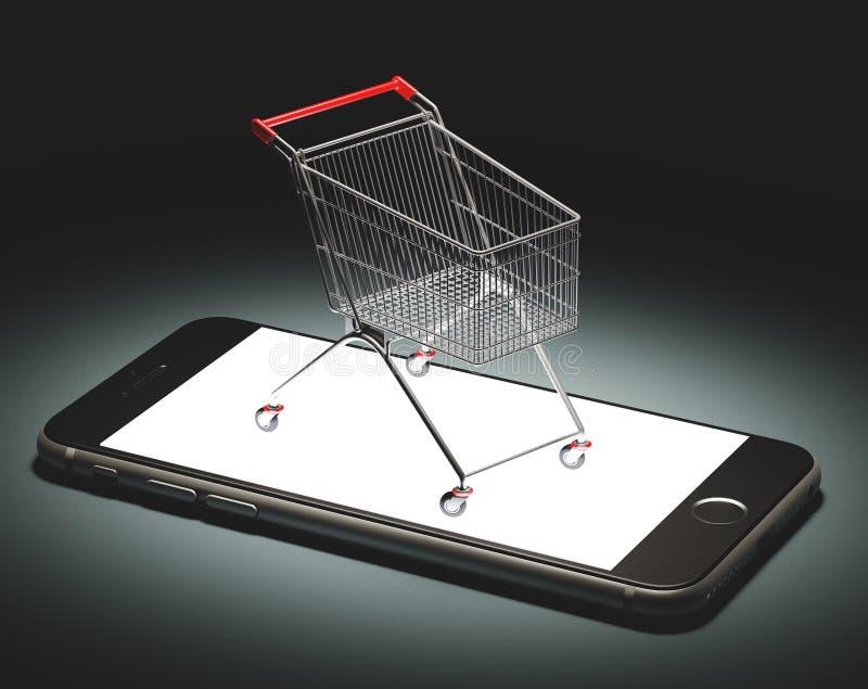 Le chariot sur le smartphone, faisant des emplettes en ligne, éditorial, illustration rendent 3d illustration libre de droits