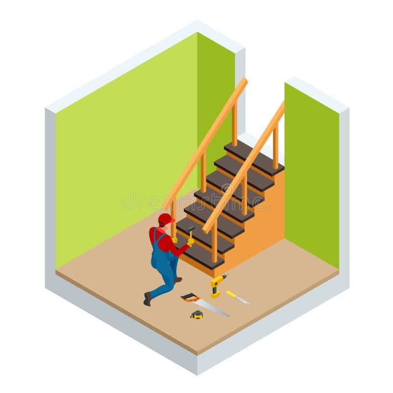 Le charpentier isométrique construisant l'escalier en bois, vérifiant nivelle pour l'exactitude et le contrôle de qualité dans un illustration libre de droits