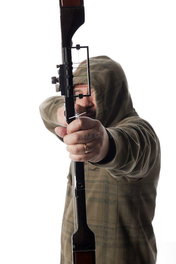 Le chasseur de proue vise l'appareil-photo image libre de droits