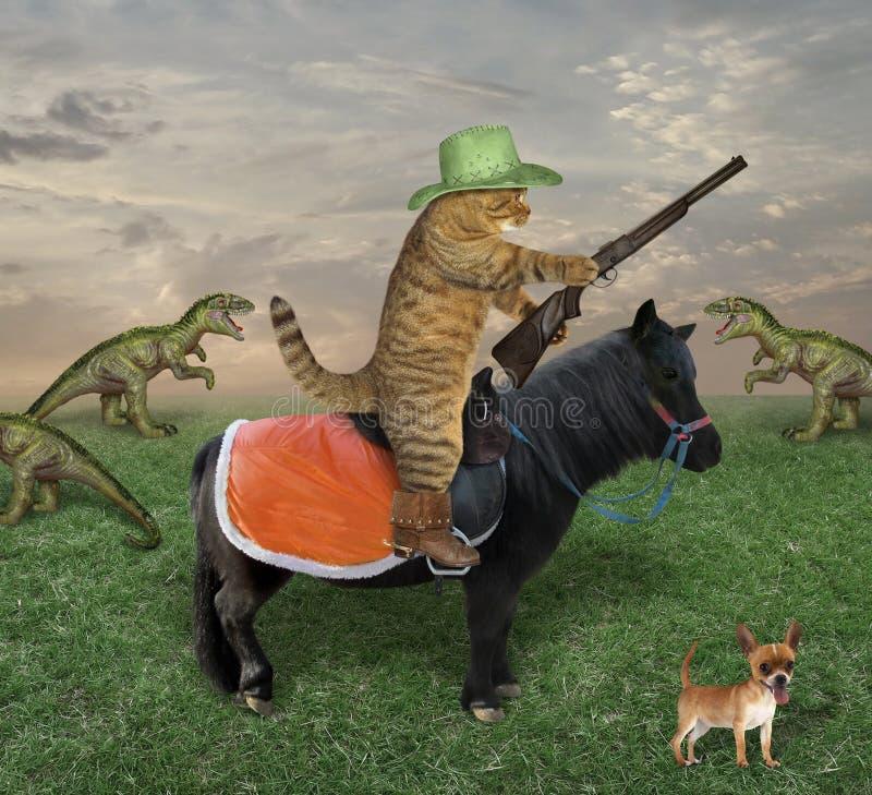 Le chat avec une arme ? feu fr?le des dragons photo libre de droits