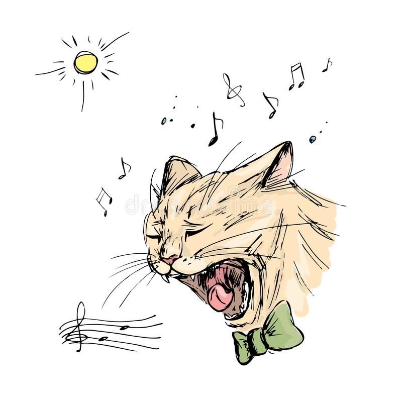 Le chat chante, dessin de main illustration libre de droits