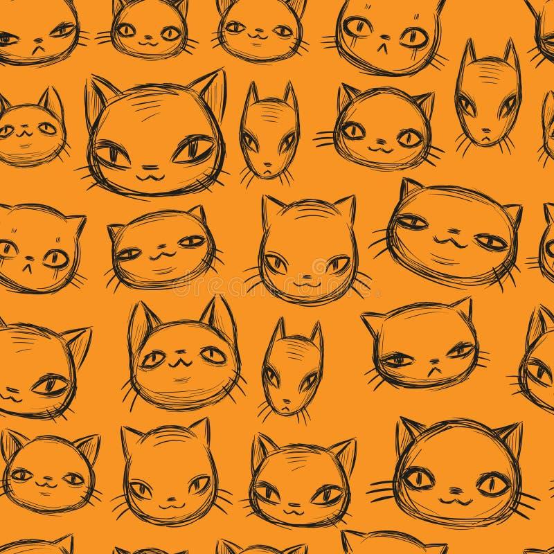 Le chat charismatique réglé, croquis tiré par la main, les animaux drôles de bande dessinée font face au modèle sans couture illustration stock