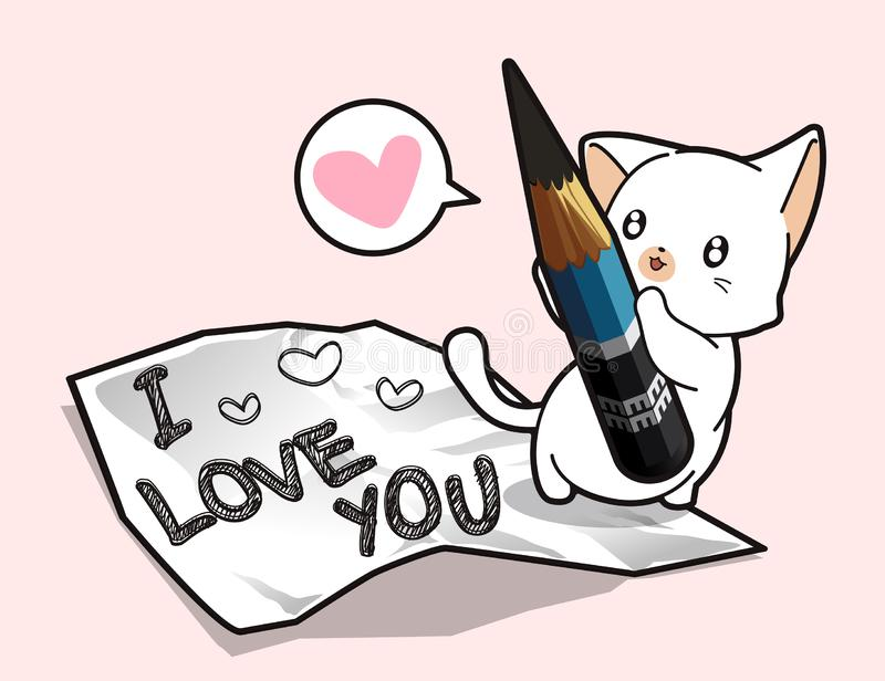 Le chat de Kawaii tient un crayon et écrit pour aimer illustration de vecteur