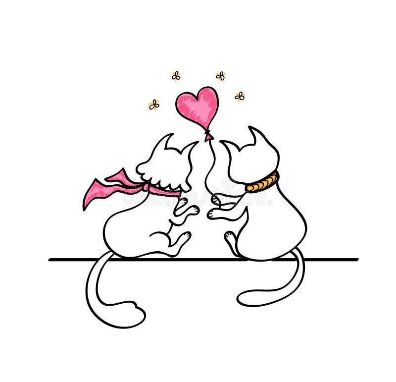 Le chat donne à un chat un ballon sous forme de coeur illustration stock