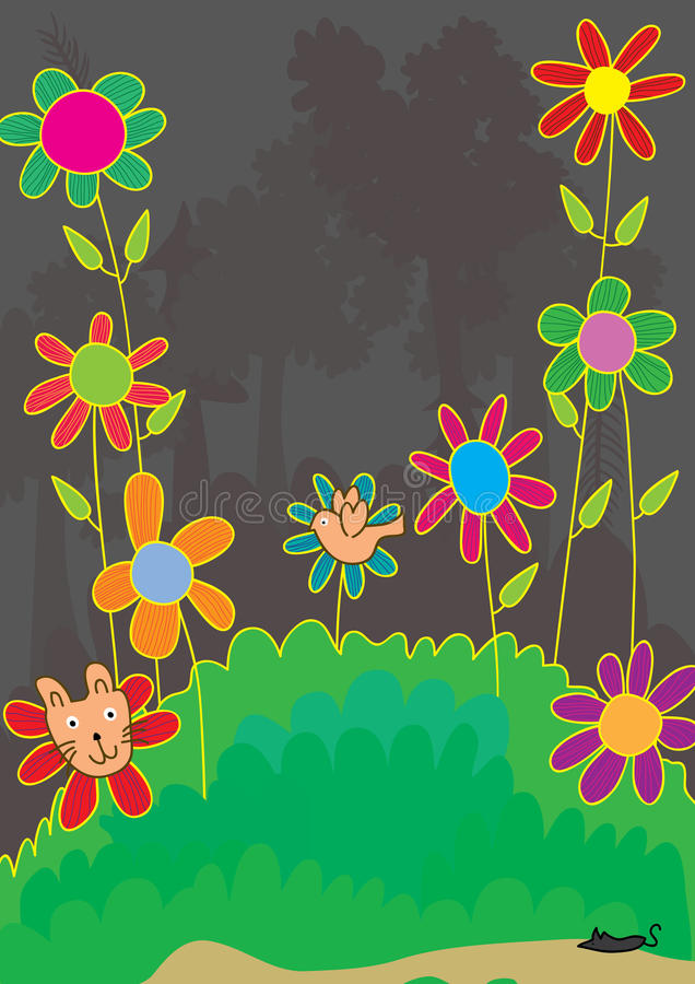 Le chat feignent Flower_eps illustration stock