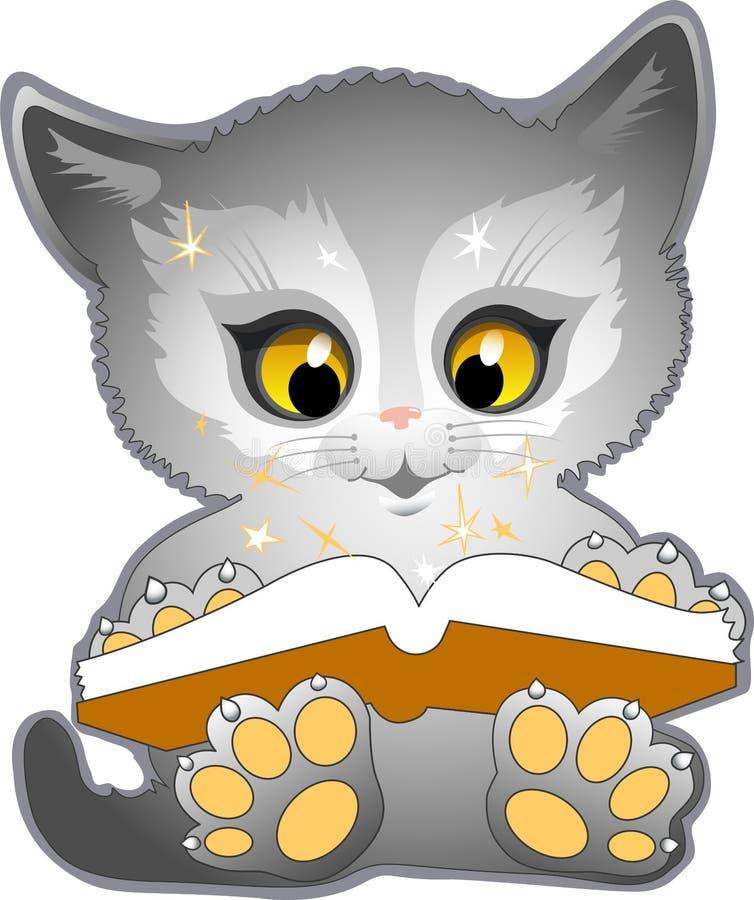Le chat lit un livre illustration libre de droits