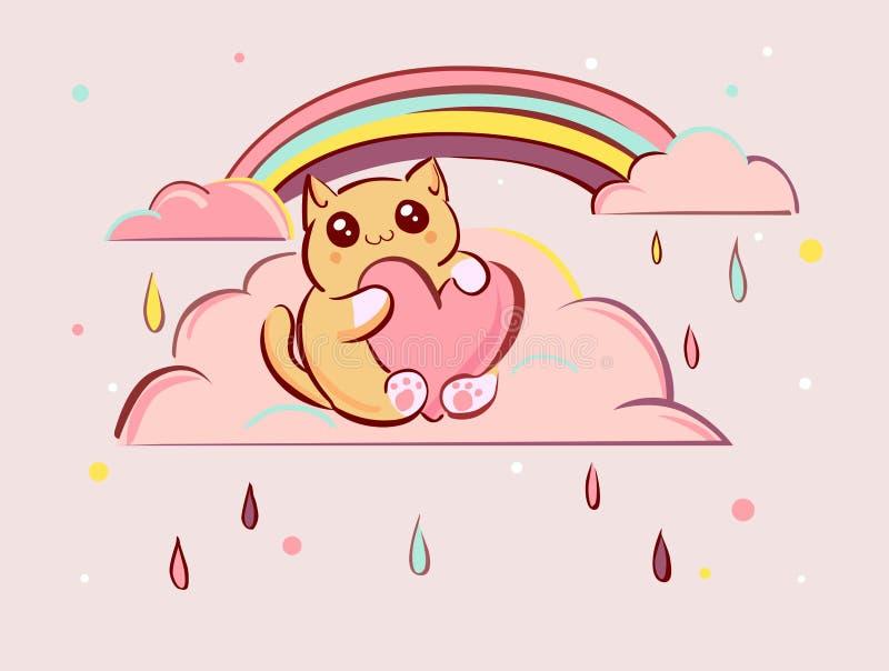 Le chat mignon de bande dessinée de kawaii avec le coeur sur les nuages roses dirigent l'illustration illustration de vecteur