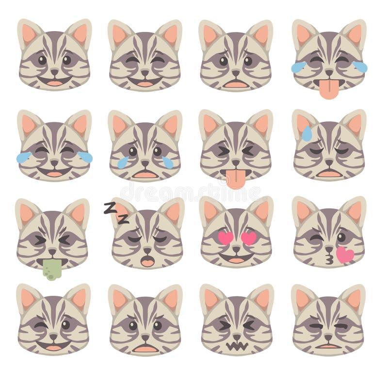 Le chat mignon de style de bande dessinée fait face avec l'ensemble différent de vecteur d'icône d'émoticône d'expression illustration libre de droits