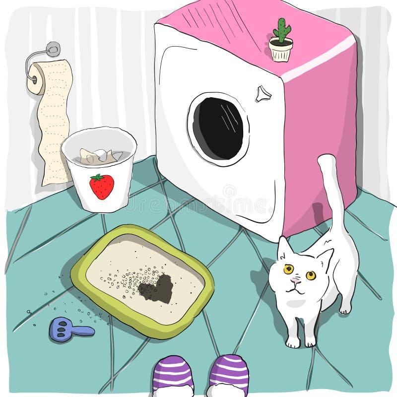 Le chat mignon a fait une tache de forme de coeur dans une poubelle et des regards avec amour à son propriétaire illustration stock