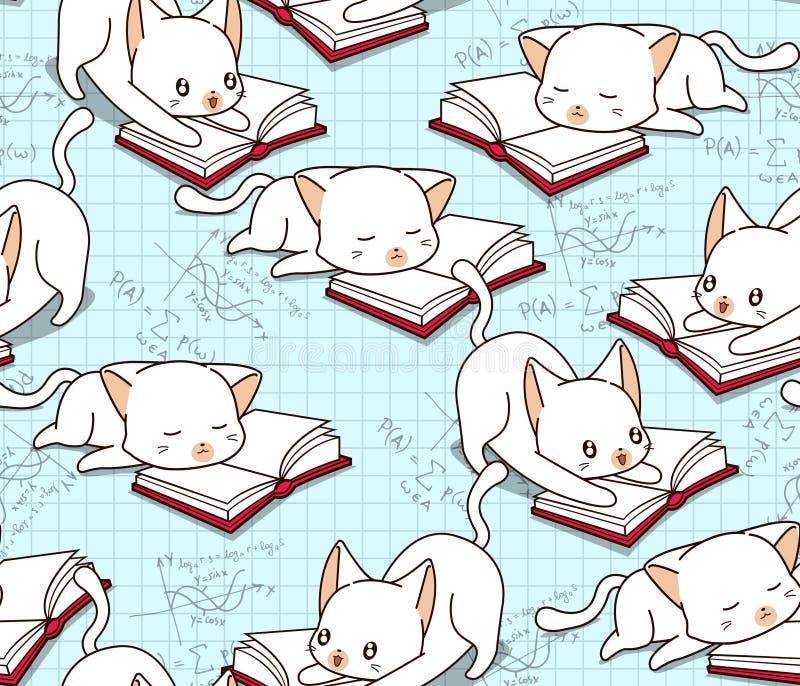 Le chat mignon sans couture lit un modèle de livre illustration libre de droits