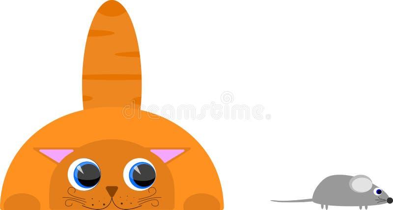 Le chat observe la souris illustration stock