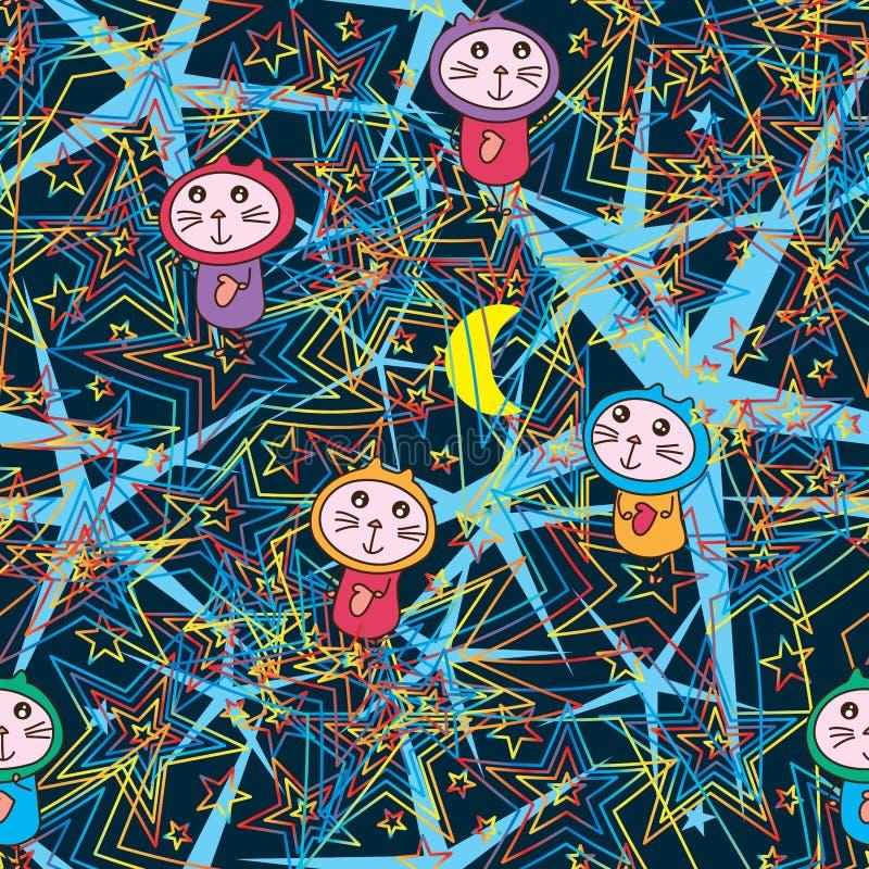 Le chat psychiatrique suivent le modèle sans couture de mouche d'étoile illustration libre de droits