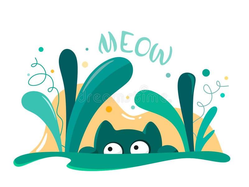 Le chat regarde des buissons Isolat animal de vecteur dans le style de bande dessin?e sur le fond blanc Illustration lumineuse et illustration de vecteur