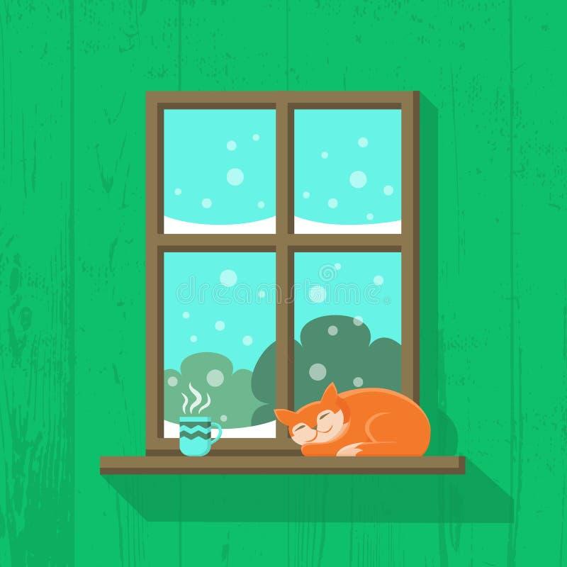 Le chat rouge dort et une tasse de café ou de thé chaud se tient sur le rebord de fenêtre illustration libre de droits