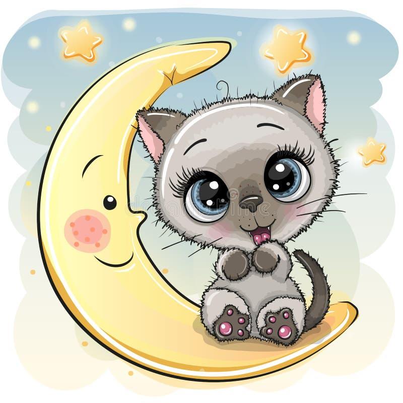 Le chaton de bande dessinée se repose sur la lune illustration de vecteur