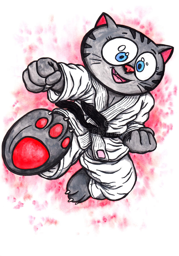Le chaton de karaté sautant le coup-de-pied la puissance de Karaté-font, 2017 illustration libre de droits