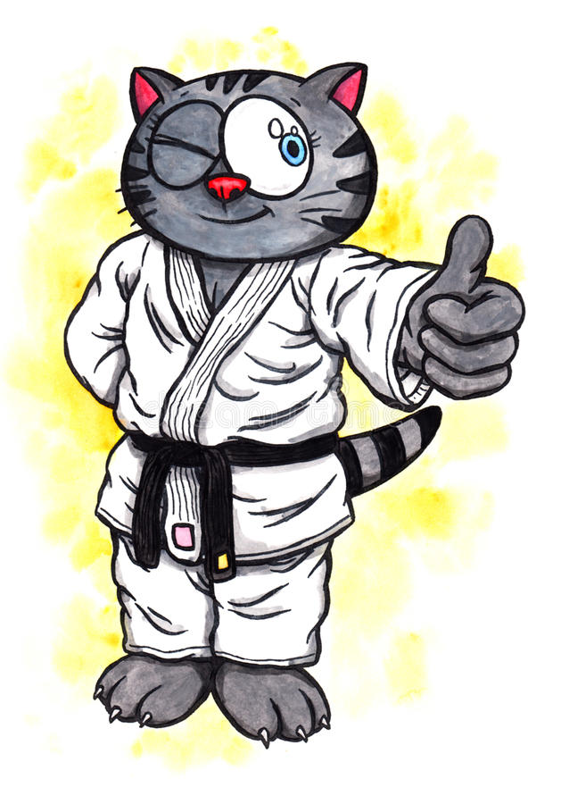 Le chaton de karaté souriant la puissance de Karaté-font, 2017 illustration libre de droits