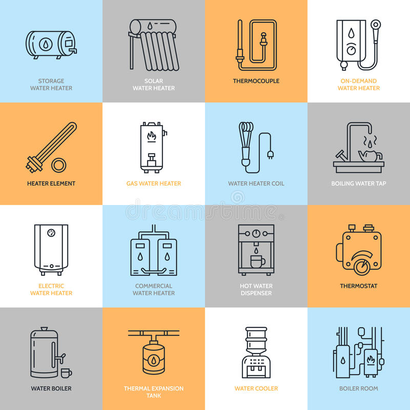Le chauffe-eau, la chaudière, le thermostat, électriques, gaz, appareils de chauffage solaires et tout autre équipement de chauff illustration de vecteur